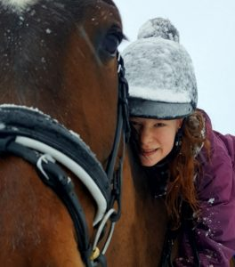 Horse with Girl in Winter