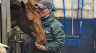 horse rider hug
