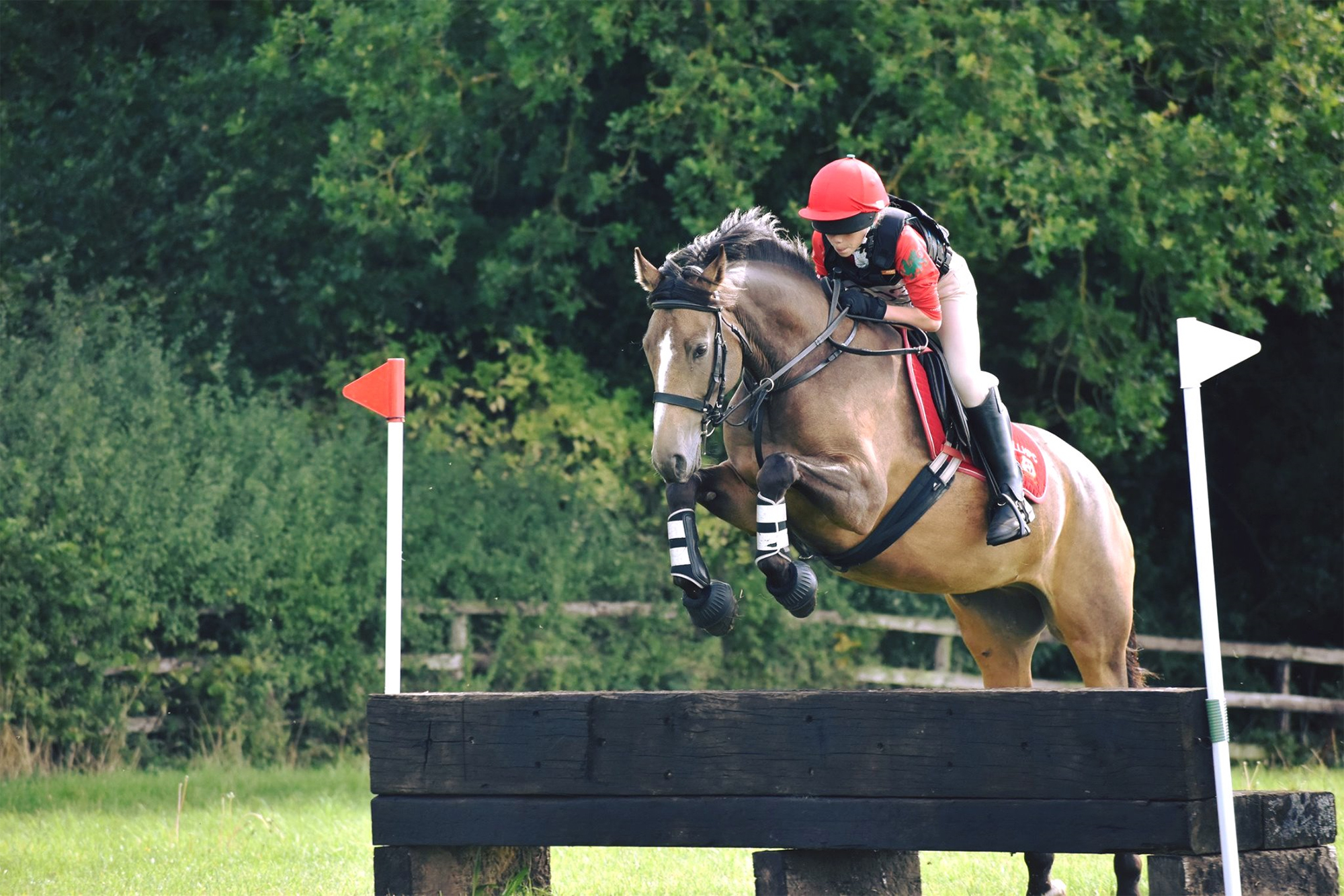 girl and pony jumping cross country fence