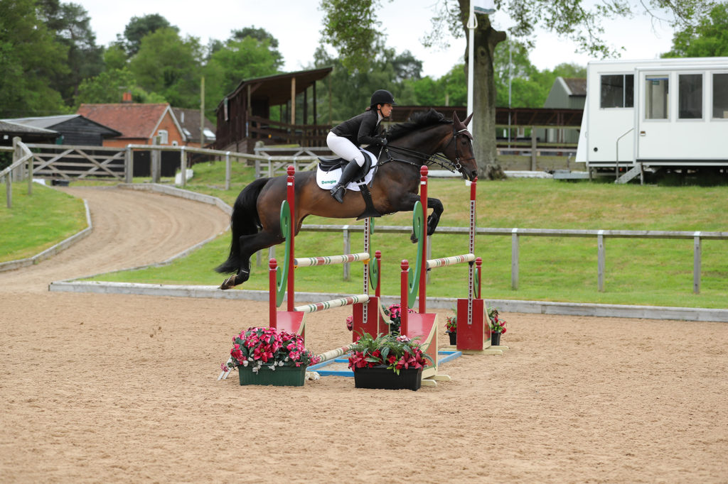 Sam Backstrom and Connie jumping newcomers